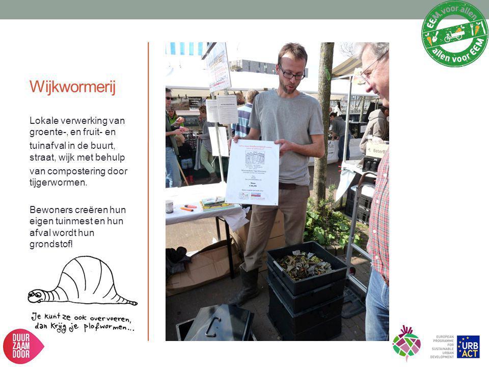 Wijkwormerij Lokale verwerking van groente-, en fruit- en tuinafval in de buurt, straat, wijk met behulp van compostering door tijgerwormen. Bewoners