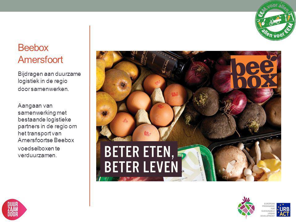 Beebox Amersfoort Bijdragen aan duurzame logistiek in de regio door samenwerken. Aangaan van samenwerking met bestaande logistieke partners in de regi