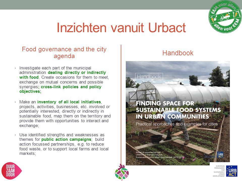 Inzichten vanuit Urbact Food governance and the city agenda Investigate each part of the municipal administration dealing directly or indirectly with