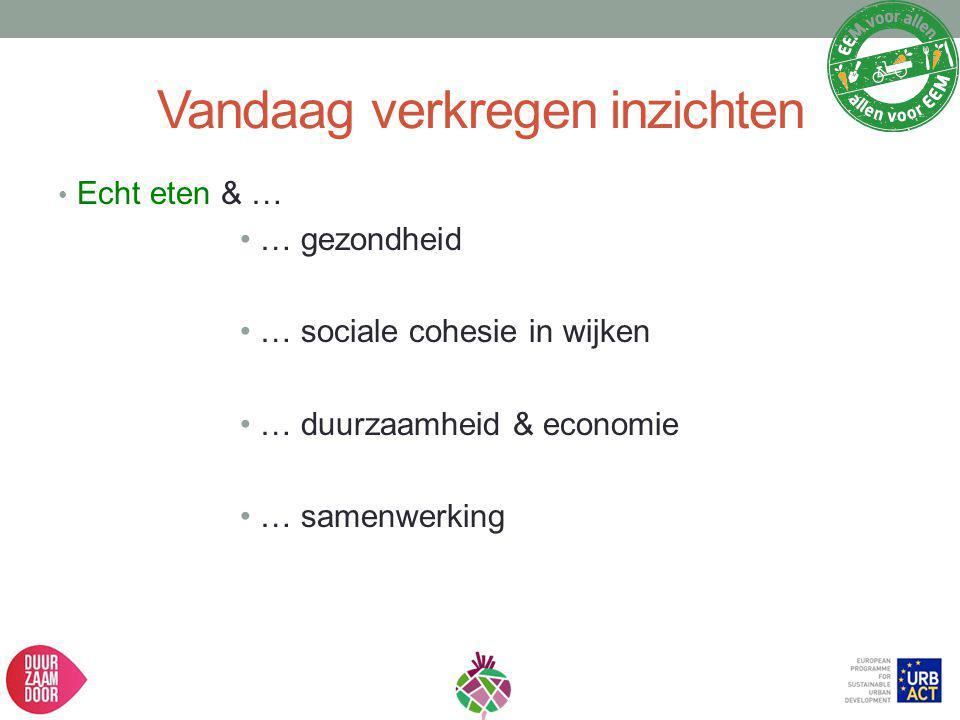 Vandaag verkregen inzichten Echt eten & … … gezondheid … sociale cohesie in wijken … duurzaamheid & economie … samenwerking