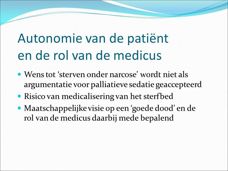 Autonomie van de patiënt en de rol van de medicus Wens tot 'sterven onder narcose' wordt niet als argumentatie voor palliatieve sedatie geaccepteerd R