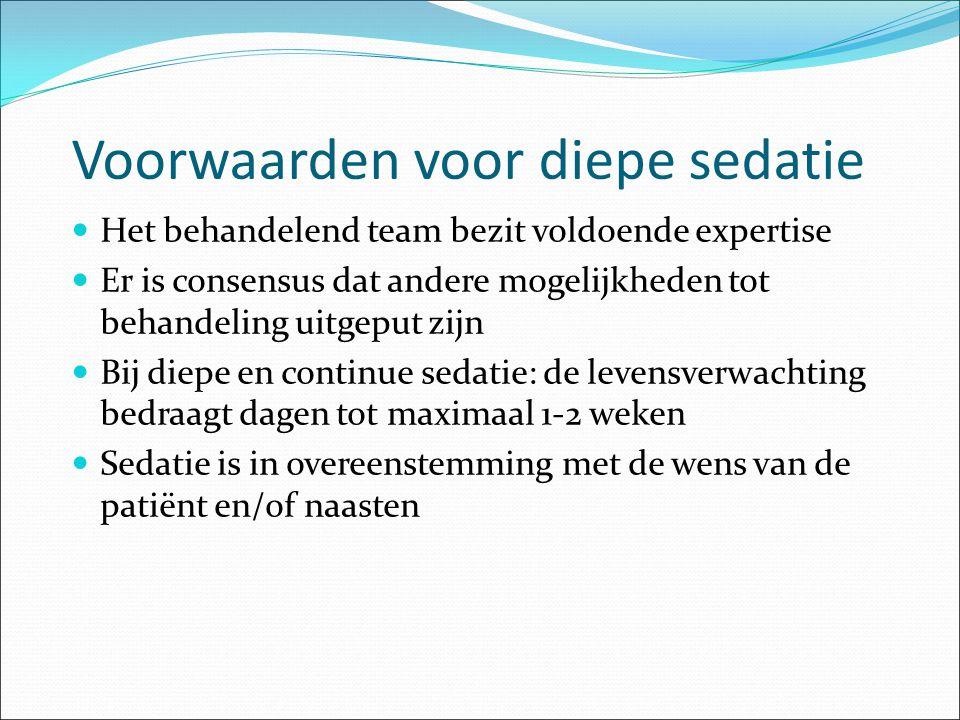 Voorwaarden voor diepe sedatie Het behandelend team bezit voldoende expertise Er is consensus dat andere mogelijkheden tot behandeling uitgeput zijn B