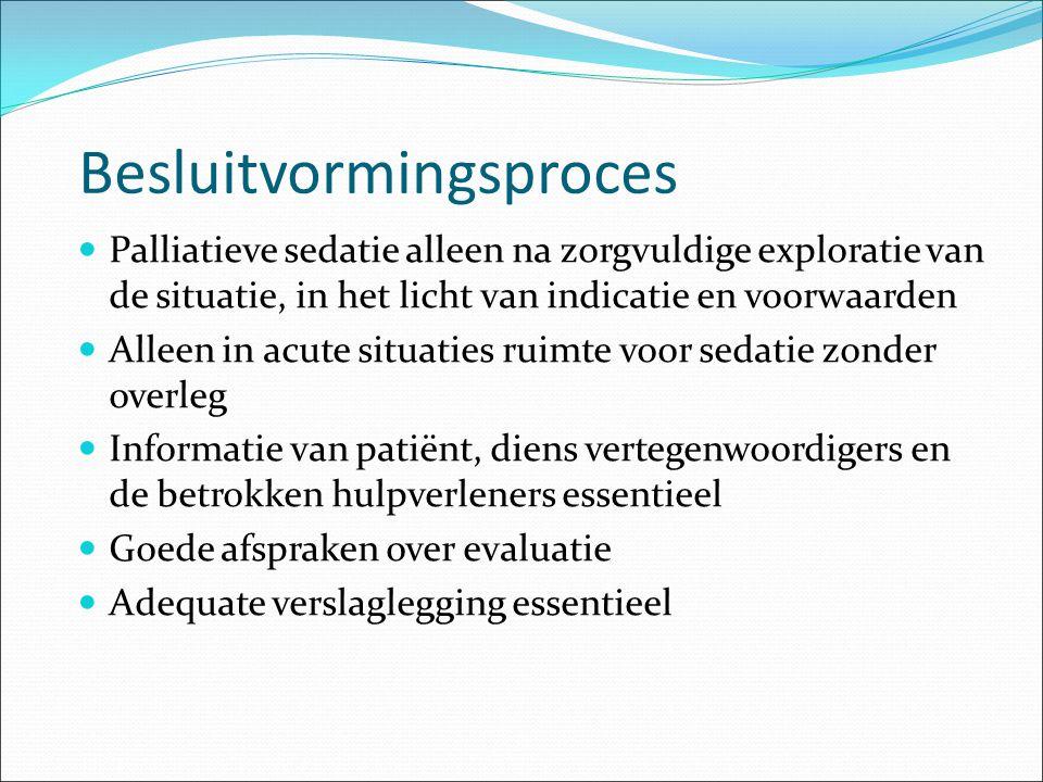 Besluitvormingsproces Palliatieve sedatie alleen na zorgvuldige exploratie van de situatie, in het licht van indicatie en voorwaarden Alleen in acute