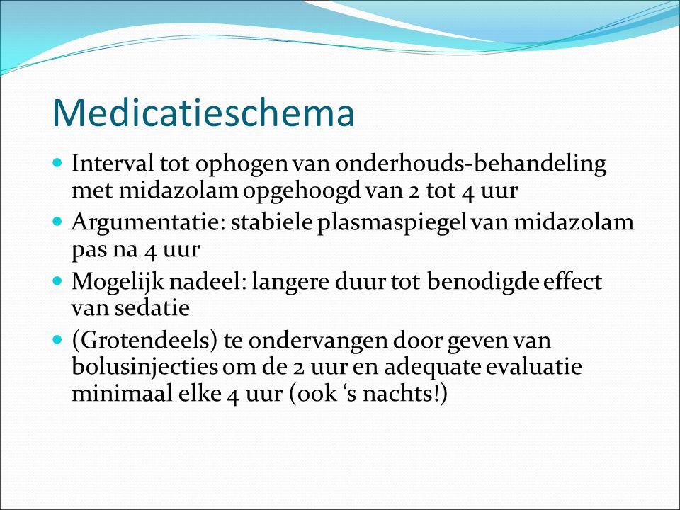 Medicatieschema Interval tot ophogen van onderhouds-behandeling met midazolam opgehoogd van 2 tot 4 uur Argumentatie: stabiele plasmaspiegel van midaz