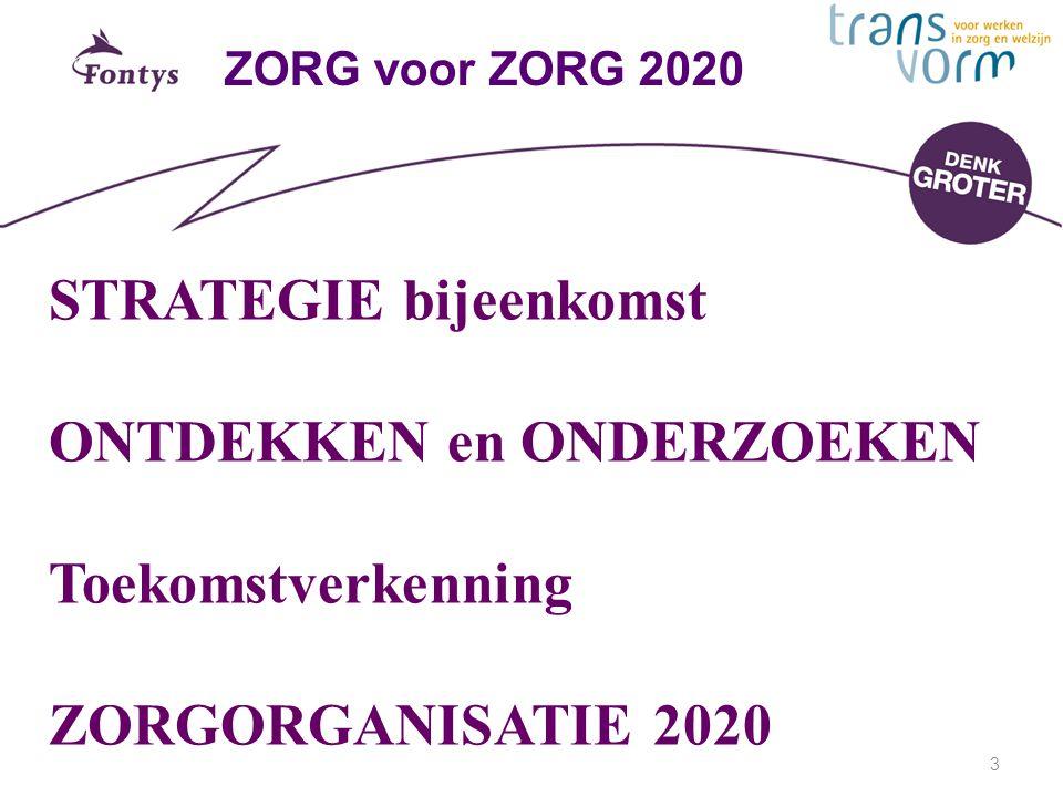 3 ZORG voor ZORG 2020 STRATEGIE bijeenkomst ONTDEKKEN en ONDERZOEKEN Toekomstverkenning ZORGORGANISATIE 2020