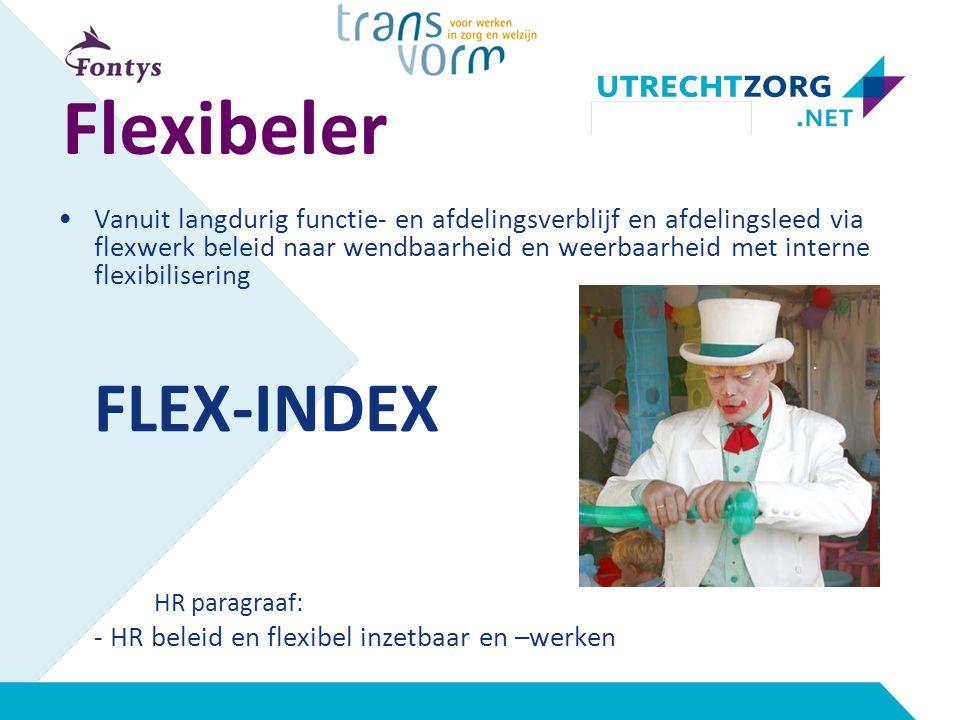 Flexibeler Vanuit langdurig functie- en afdelingsverblijf en afdelingsleed via flexwerk beleid naar wendbaarheid en weerbaarheid met interne flexibilisering FLEX-INDEX HR paragraaf: - HR beleid en flexibel inzetbaar en –werken