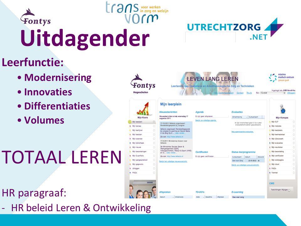 Uitdagender Leerfunctie: Modernisering Innovaties Differentiaties Volumes TOTAAL LEREN HR paragraaf: -HR beleid Leren & Ontwikkeling