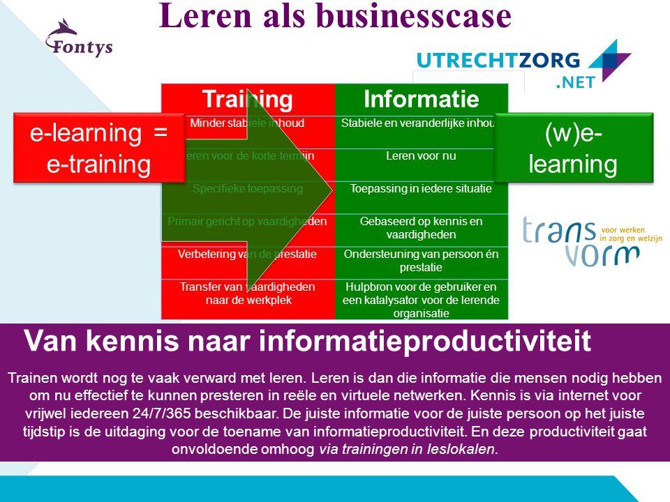 Van kennis naar informatieproductiviteit Trainen wordt nog te vaak verward met leren. Leren is dan die informatie die mensen nodig hebben om nu effect