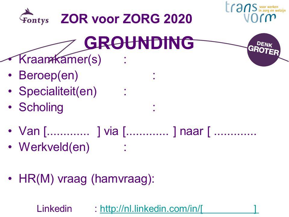 ZOR voor ZORG 2020 GROUNDING Kraamkamer(s): Beroep(en): Specialiteit(en): Scholing: Van [............. ] via [............. ] naar [............. Werk