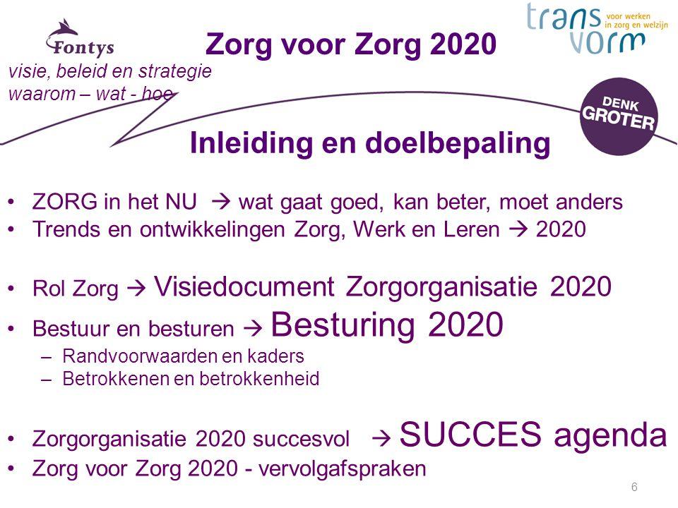 6 Zorg voor Zorg 2020 visie, beleid en strategie waarom – wat - hoe Inleiding en doelbepaling ZORG in het NU  wat gaat goed, kan beter, moet anders Trends en ontwikkelingen Zorg, Werk en Leren  2020 Rol Zorg  Visiedocument Zorgorganisatie 2020 Bestuur en besturen  Besturing 2020 –Randvoorwaarden en kaders –Betrokkenen en betrokkenheid Zorgorganisatie 2020 succesvol  SUCCES agenda Zorg voor Zorg 2020 - vervolgafspraken