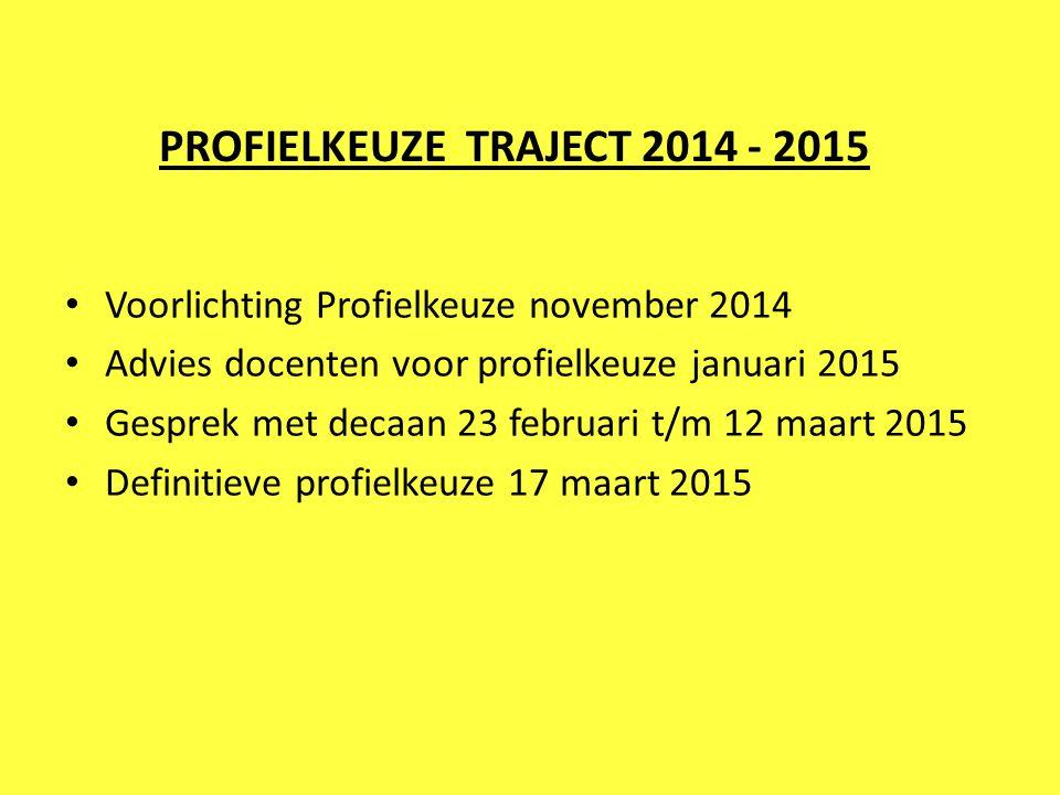 PROFIELKEUZE TRAJECT 2014 - 2015 Voorlichting Profielkeuze november 2014 Advies docenten voor profielkeuze januari 2015 Gesprek met decaan 23 februari