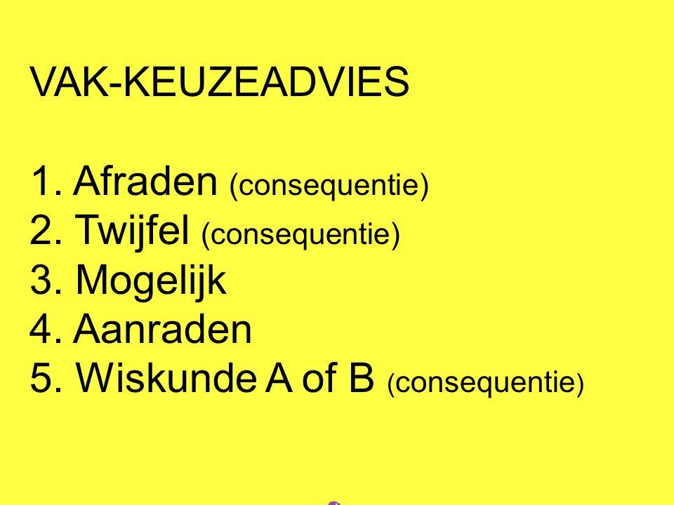 VAK-KEUZEADVIES 1. Afraden (consequentie) 2. Twijfel (consequentie) 3. Mogelijk 4. Aanraden 5. Wiskunde A of B ( consequentie )