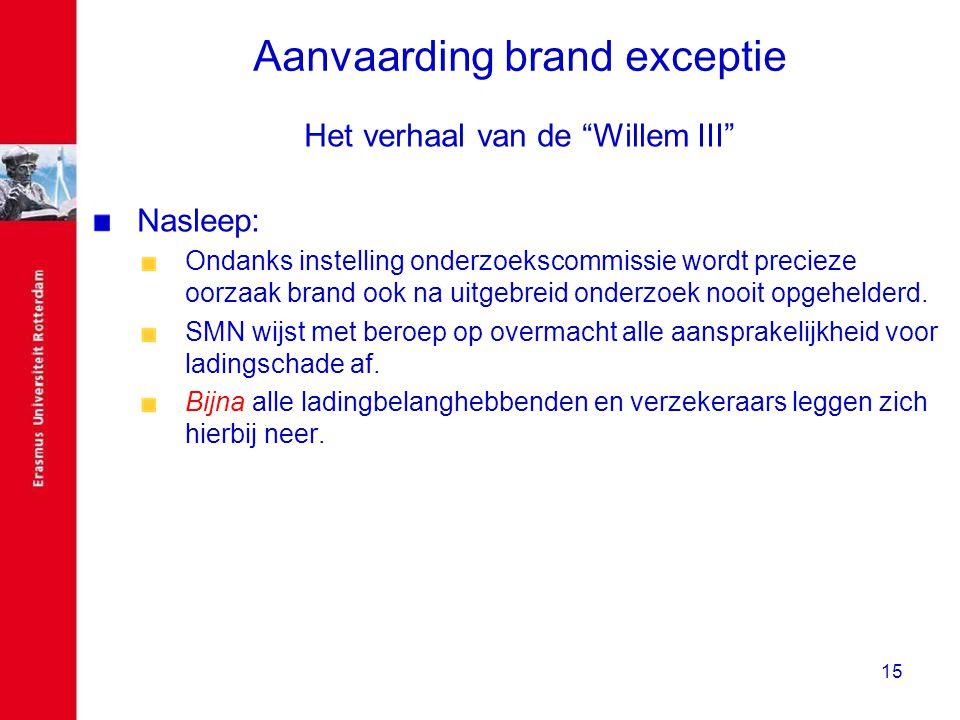 """15 Aanvaarding brand exceptie Het verhaal van de """"Willem III"""" Nasleep: Ondanks instelling onderzoekscommissie wordt precieze oorzaak brand ook na uitg"""