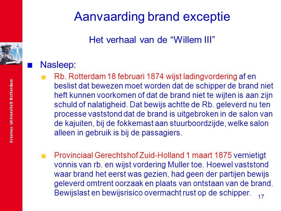 """17 Aanvaarding brand exceptie Het verhaal van de """"Willem III"""" Nasleep: Rb. Rotterdam 18 februari 1874 wijst ladingvordering af en beslist dat bewezen"""