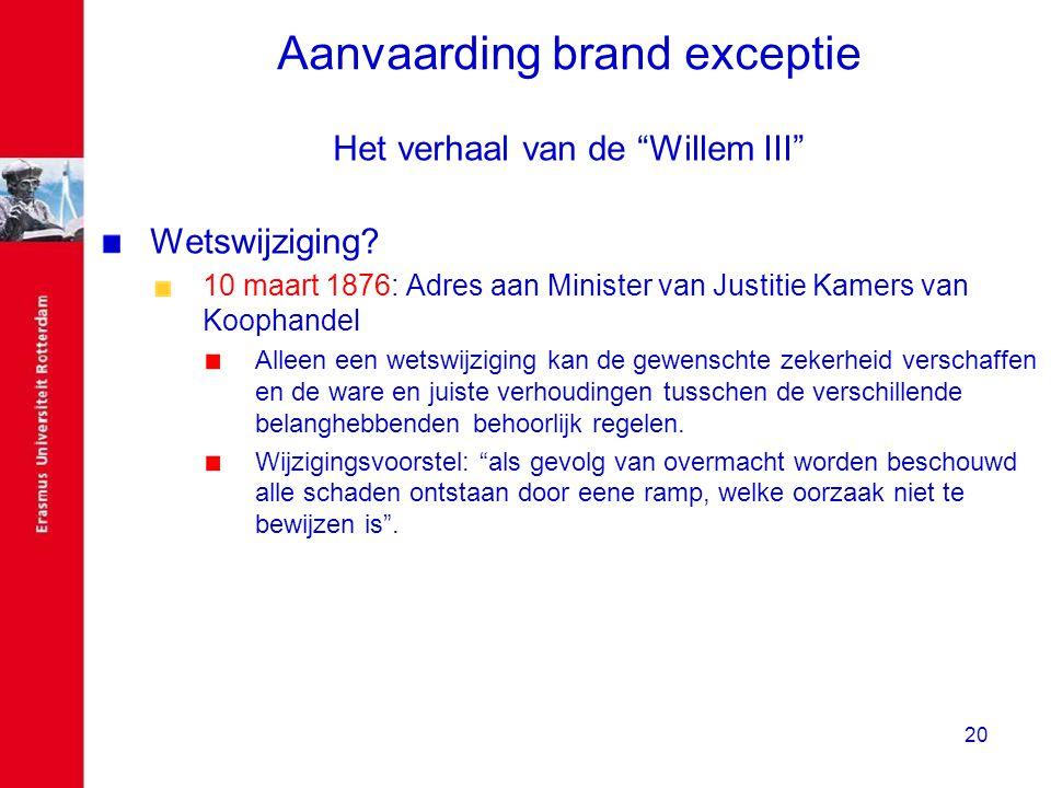 """20 Aanvaarding brand exceptie Het verhaal van de """"Willem III"""" Wetswijziging? 10 maart 1876: Adres aan Minister van Justitie Kamers van Koophandel Alle"""