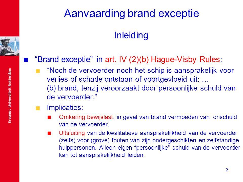 """3 Aanvaarding brand exceptie Inleiding """"Brand exceptie"""" in art. IV (2)(b) Hague-Visby Rules: """"Noch de vervoerder noch het schip is aansprakelijk voor"""