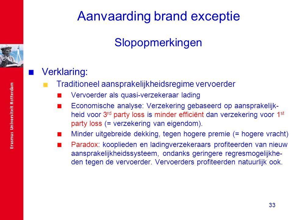 33 Aanvaarding brand exceptie Slopopmerkingen Verklaring: Traditioneel aansprakelijkheidsregime vervoerder Vervoerder als quasi-verzekeraar lading Eco
