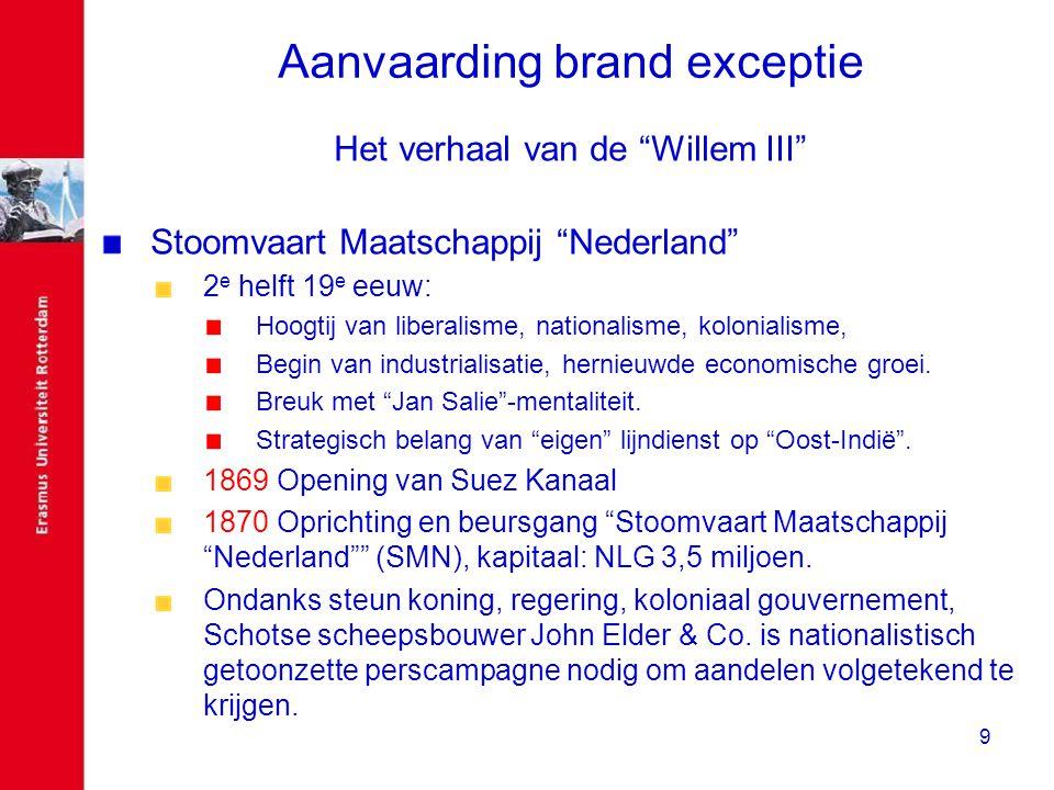 """9 Aanvaarding brand exceptie Het verhaal van de """"Willem III"""" Stoomvaart Maatschappij """"Nederland"""" 2 e helft 19 e eeuw: Hoogtij van liberalisme, nationa"""