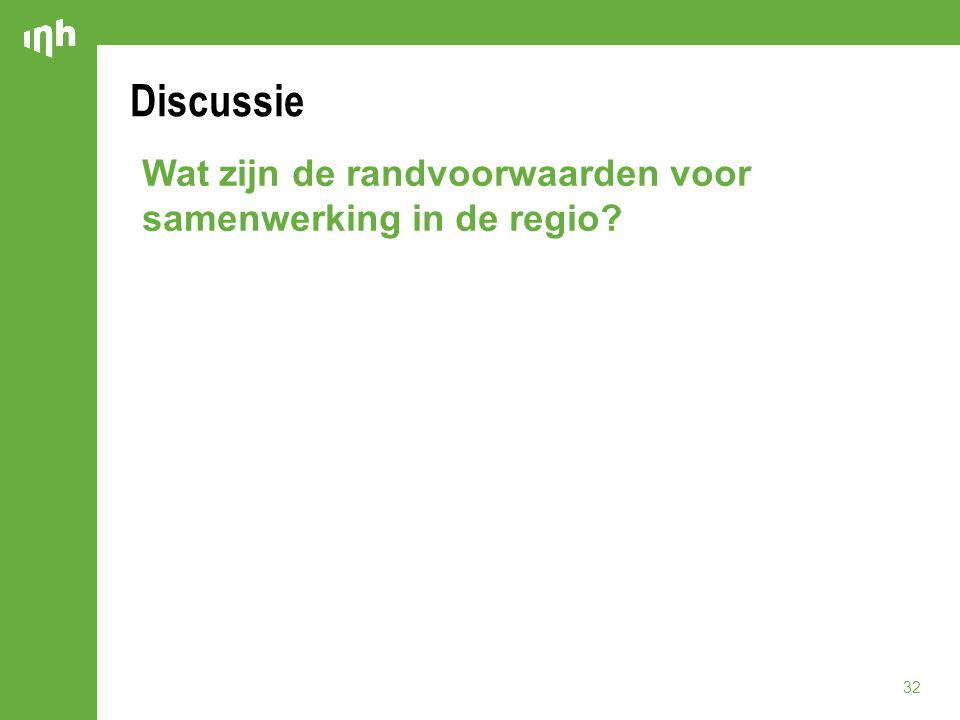 Discussie Wat zijn de randvoorwaarden voor samenwerking in de regio? 32