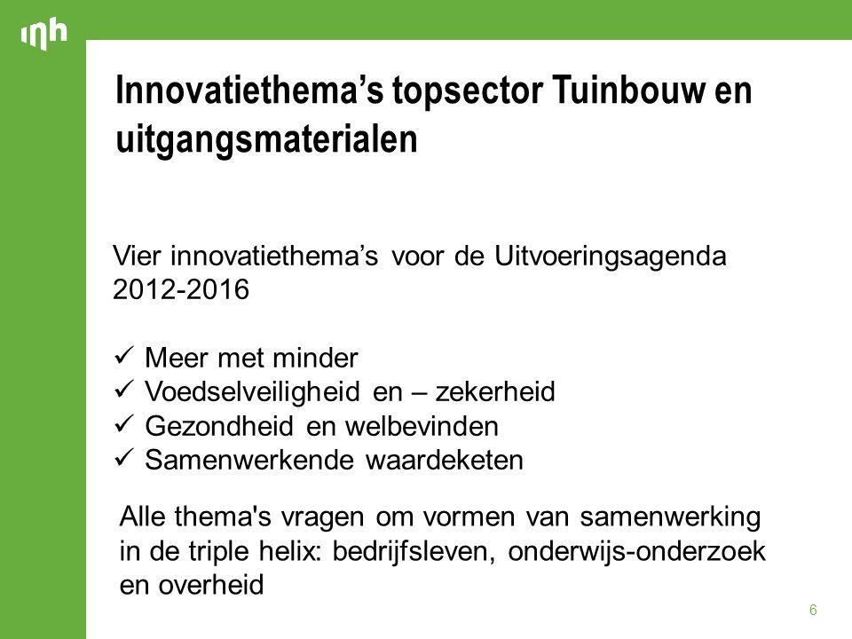 Innovatiethema's topsector Tuinbouw en uitgangsmaterialen 6 Vier innovatiethema's voor de Uitvoeringsagenda 2012-2016 Meer met minder Voedselveilighei