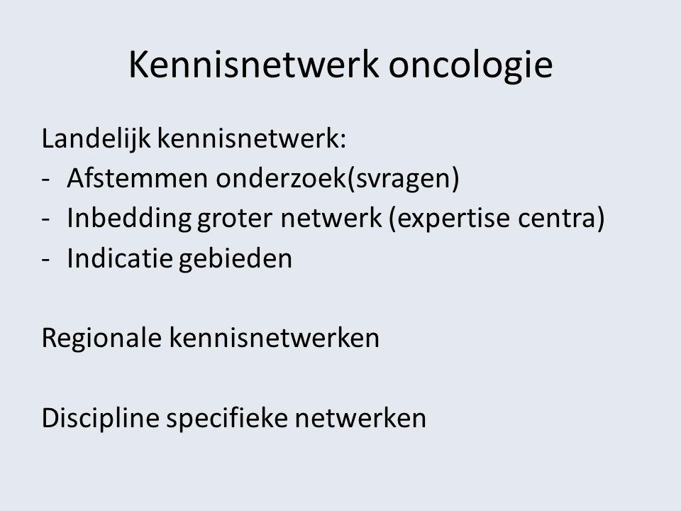 Kennisnetwerk oncologie Landelijk kennisnetwerk: -Afstemmen onderzoek(svragen) -Inbedding groter netwerk (expertise centra) -Indicatie gebieden Region
