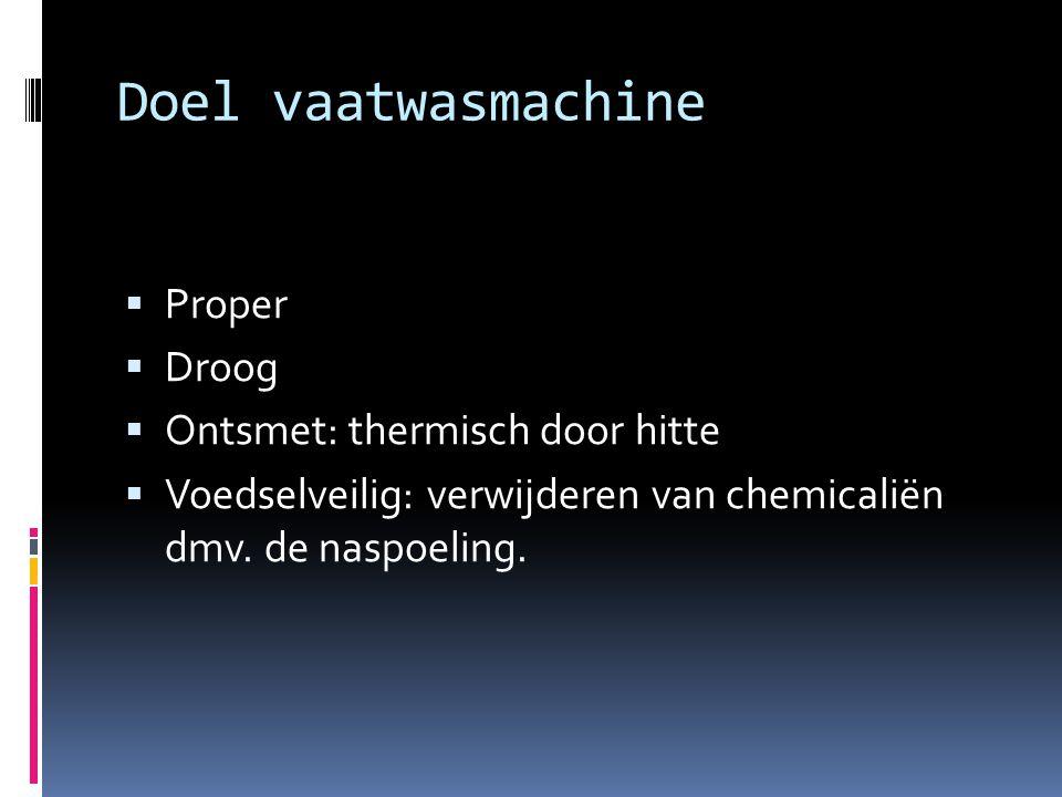 Doel vaatwasmachine  Proper  Droog  Ontsmet: thermisch door hitte  Voedselveilig: verwijderen van chemicaliën dmv. de naspoeling.