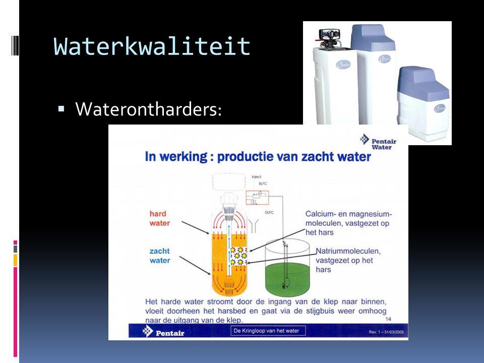 Waterkwaliteit  Waterontharders: