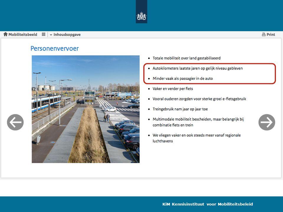 Afvlakking groei autogebruik van Nederlanders in NL Reizigerskilometers auto, Bron: OVG/MON/OVIN, bewerking KiM KiM Kennisinstituut voor Mobiliteitsbeleid Autopassagier Autobestuurder