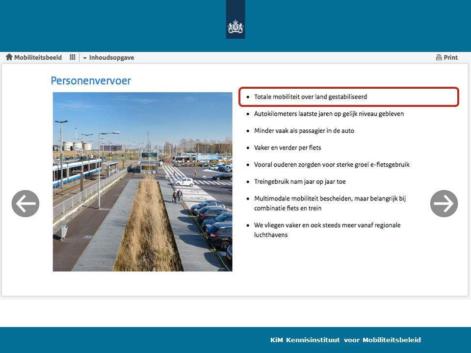 Mobiliteitsontwikkeling 1985 – 2013 Personenkilometers KiM Kennisinstituut voor Mobiliteitsbeleid