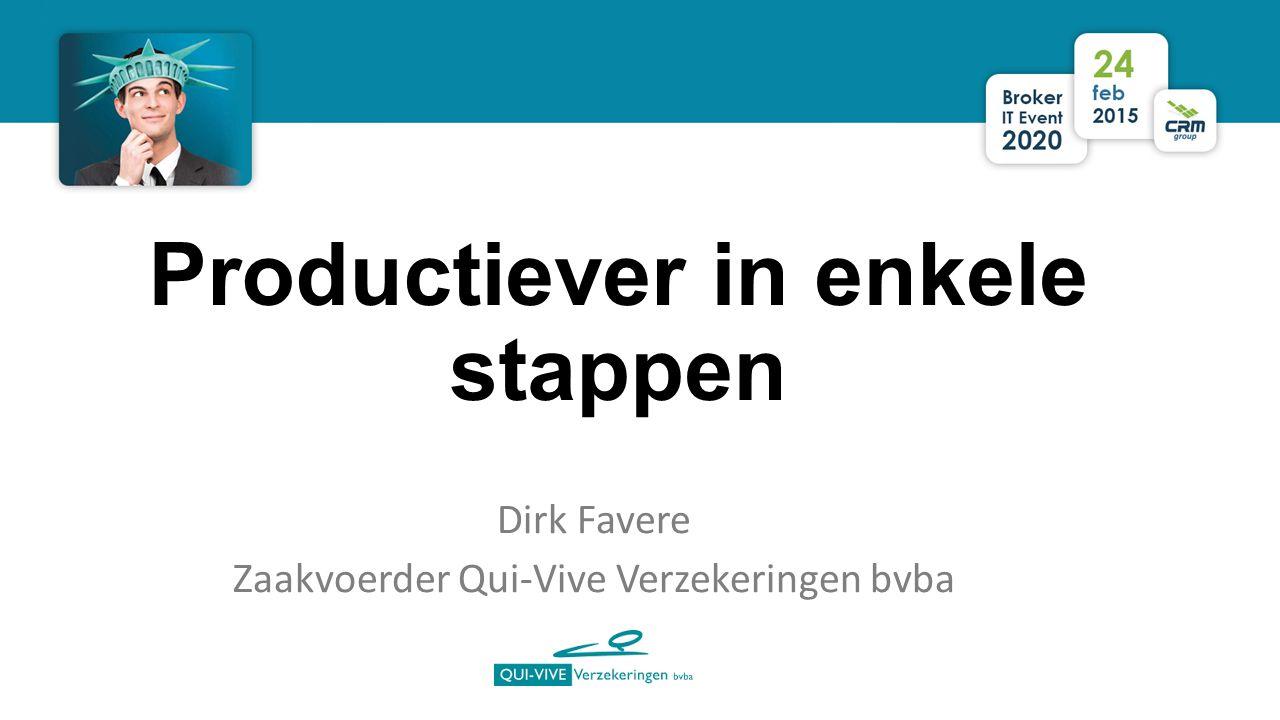 Productiever in enkele stappen Dirk Favere Zaakvoerder Qui-Vive Verzekeringen bvba