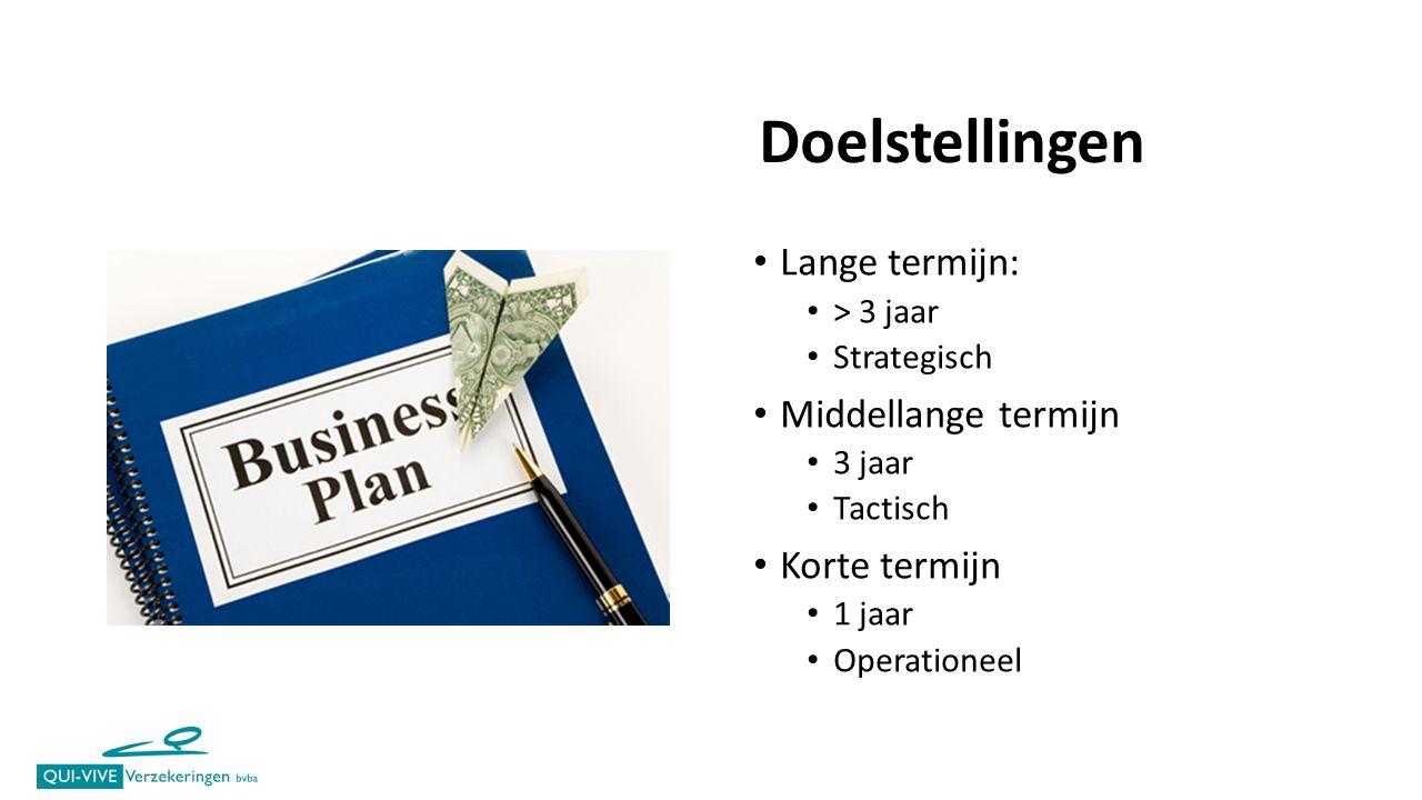 Lange termijn: > 3 jaar Strategisch Middellange termijn 3 jaar Tactisch Korte termijn 1 jaar Operationeel Doelstellingen