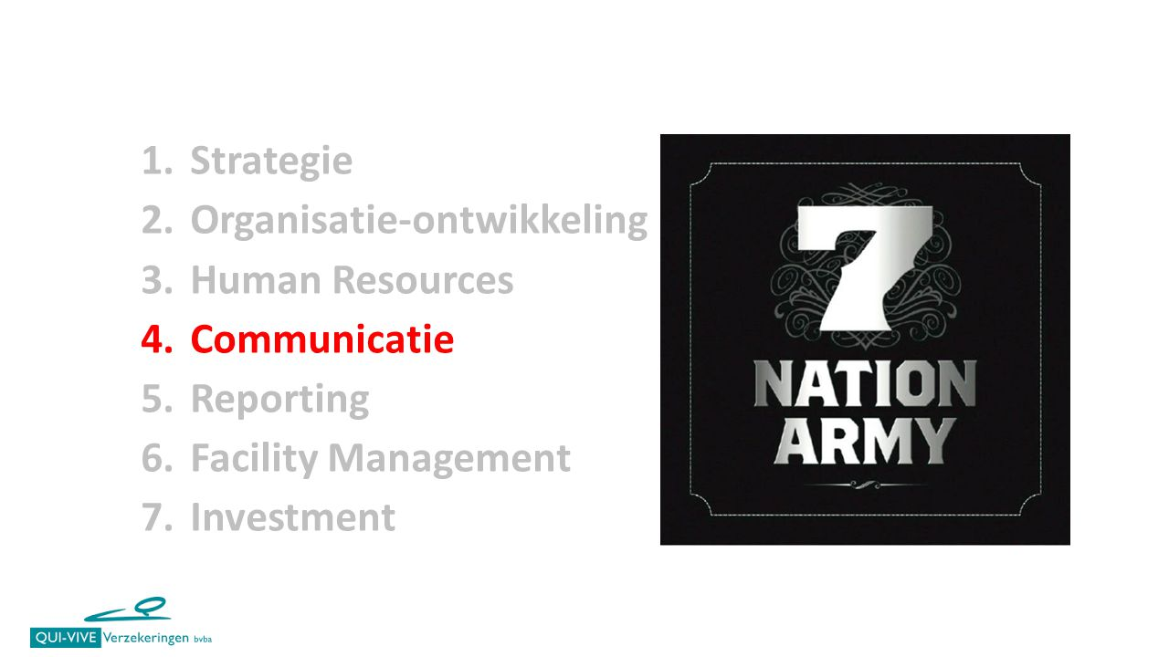 1.Strategie 2.Organisatie-ontwikkeling 3.Human Resources 4.Communicatie 5.Reporting 6.Facility Management 7.Investment