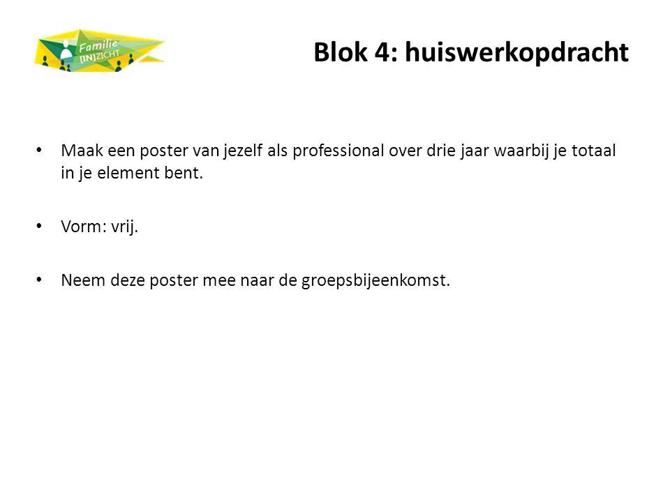 Blok 4: huiswerkopdracht Maak een poster van jezelf als professional over drie jaar waarbij je totaal in je element bent. Vorm: vrij. Neem deze poster