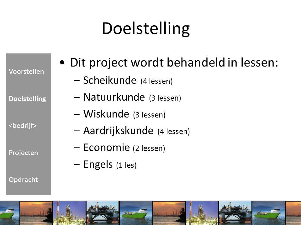 Doelstelling Dit project wordt behandeld in lessen: –Scheikunde (4 lessen) –Natuurkunde (3 lessen) –Wiskunde (3 lessen) –Aardrijkskunde (4 lessen) –Ec
