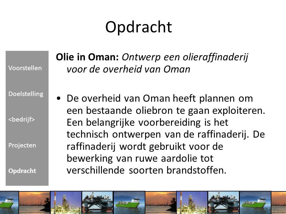 Olie in Oman: Ontwerp een olieraffinaderij voor de overheid van Oman De overheid van Oman heeft plannen om een bestaande oliebron te gaan exploiteren.
