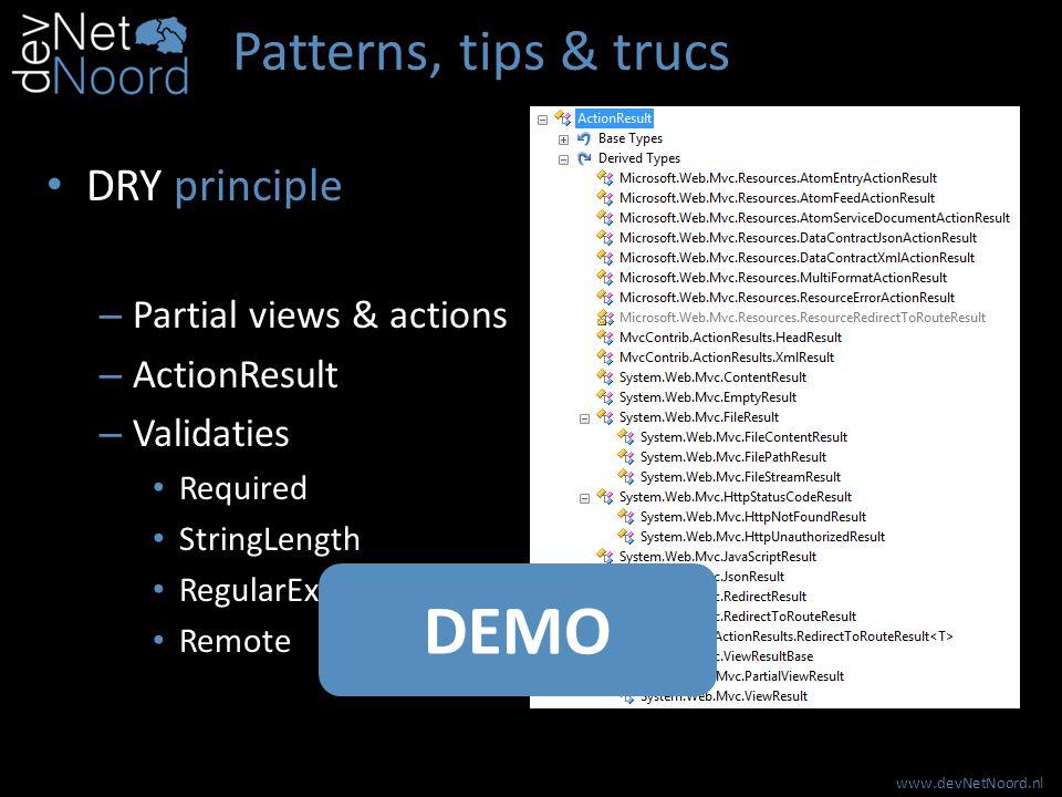 www.devNetNoord.nl Patterns, tips & trucs REST – Resources HTML XML JSON CSV, Excel … .