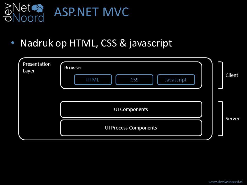 www.devNetNoord.nl ASP.NET MVC Nadruk op HTML, CSS & javascript Browser Presentation Layer UI Process Components UI Components HTMLCSSJavascript Clien