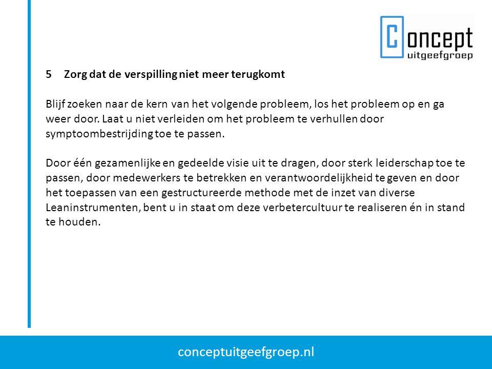 conceptuitgeefgroep.nl 5Zorg dat de verspilling niet meer terugkomt Blijf zoeken naar de kern van het volgende probleem, los het probleem op en ga wee