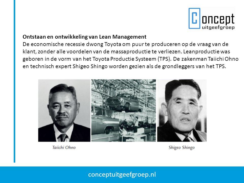 conceptuitgeefgroep.nl Ontstaan en ontwikkeling van Lean Management De economische recessie dwong Toyota om puur te produceren op de vraag van de klan