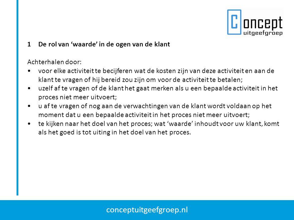 conceptuitgeefgroep.nl 1De rol van 'waarde' in de ogen van de klant Achterhalen door: voor elke activiteit te becijferen wat de kosten zijn van deze a