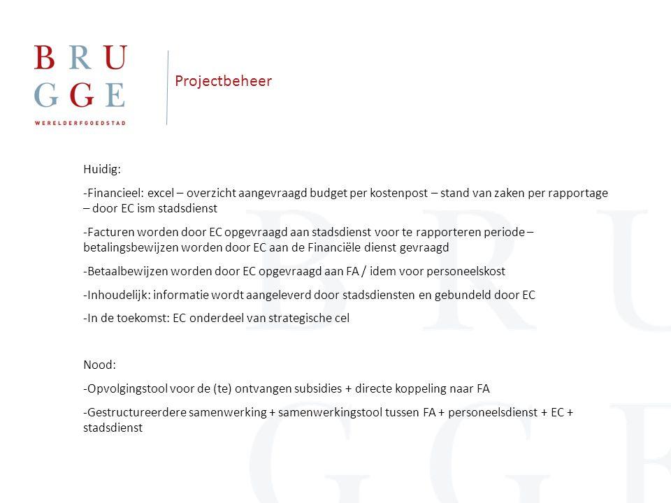 Projectbeheer Huidig: -Financieel: excel – overzicht aangevraagd budget per kostenpost – stand van zaken per rapportage – door EC ism stadsdienst -Fac