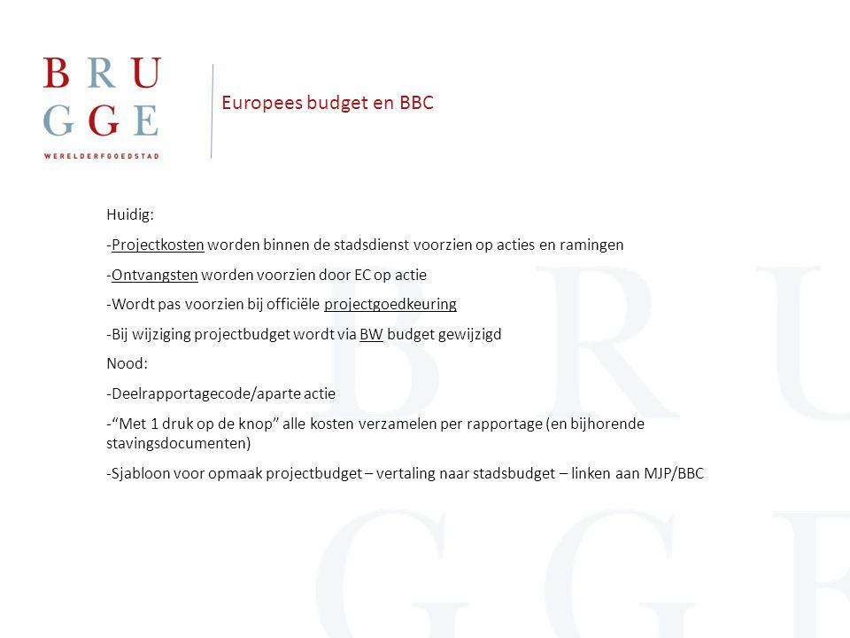 Europees budget en BBC Huidig: -Projectkosten worden binnen de stadsdienst voorzien op acties en ramingen -Ontvangsten worden voorzien door EC op actie -Wordt pas voorzien bij officiële projectgoedkeuring -Bij wijziging projectbudget wordt via BW budget gewijzigd Nood: -Deelrapportagecode/aparte actie - Met 1 druk op de knop alle kosten verzamelen per rapportage (en bijhorende stavingsdocumenten) -Sjabloon voor opmaak projectbudget – vertaling naar stadsbudget – linken aan MJP/BBC