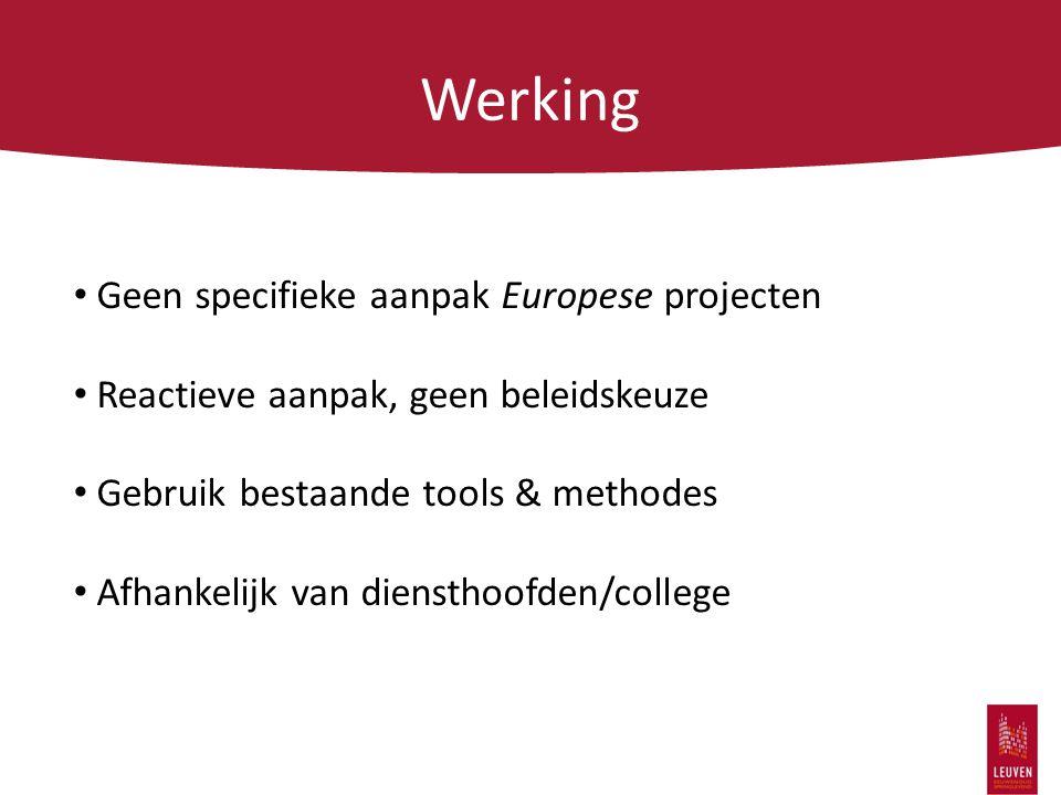 Werking Geen specifieke aanpak Europese projecten Reactieve aanpak, geen beleidskeuze Gebruik bestaande tools & methodes Afhankelijk van diensthoofden/college