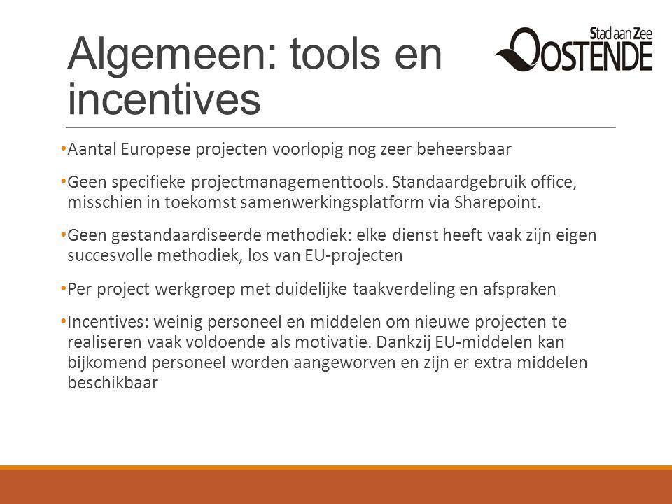 Algemeen: tools en incentives Aantal Europese projecten voorlopig nog zeer beheersbaar Geen specifieke projectmanagementtools. Standaardgebruik office