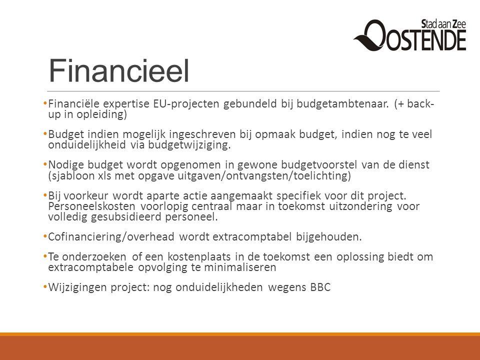 Financieel Financiële expertise EU-projecten gebundeld bij budgetambtenaar. (+ back- up in opleiding) Budget indien mogelijk ingeschreven bij opmaak b