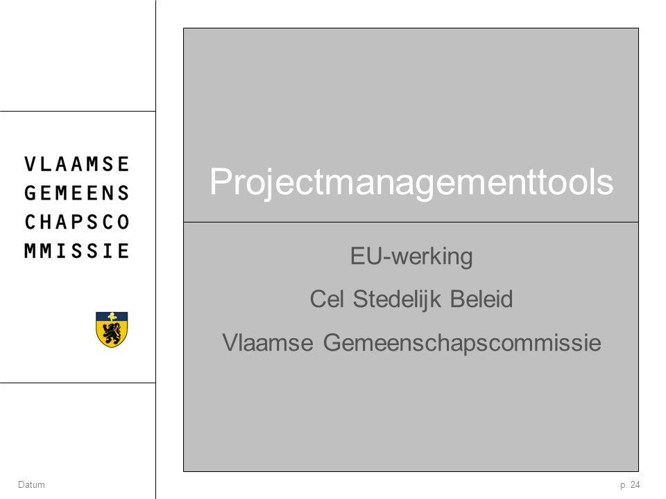 p. 24Datum Projectmanagementtools EU-werking Cel Stedelijk Beleid Vlaamse Gemeenschapscommissie