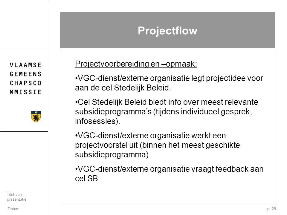 Datum Titel van presentatie p. 25 Projectflow Projectvoorbereiding en –opmaak: VGC-dienst/externe organisatie legt projectidee voor aan de cel Stedeli