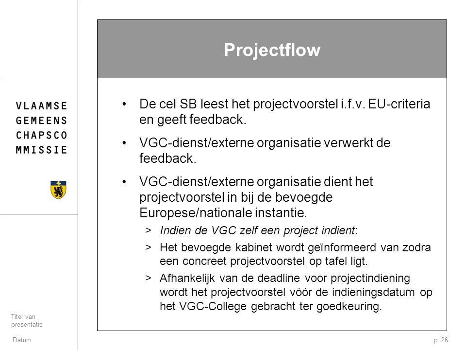 Datum Titel van presentatie p. 26 Projectflow De cel SB leest het projectvoorstel i.f.v. EU-criteria en geeft feedback. VGC-dienst/externe organisatie