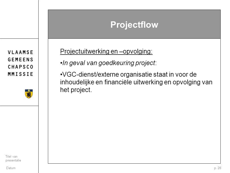 Datum Titel van presentatie p. 28 Projectflow Projectuitwerking en –opvolging: In geval van goedkeuring project: VGC-dienst/externe organisatie staat