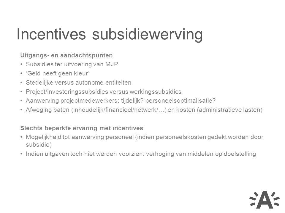 Uitgangs- en aandachtspunten Subsidies ter uitvoering van MJP 'Geld heeft geen kleur' Stedelijke versus autonome entiteiten Project/investeringssubsid